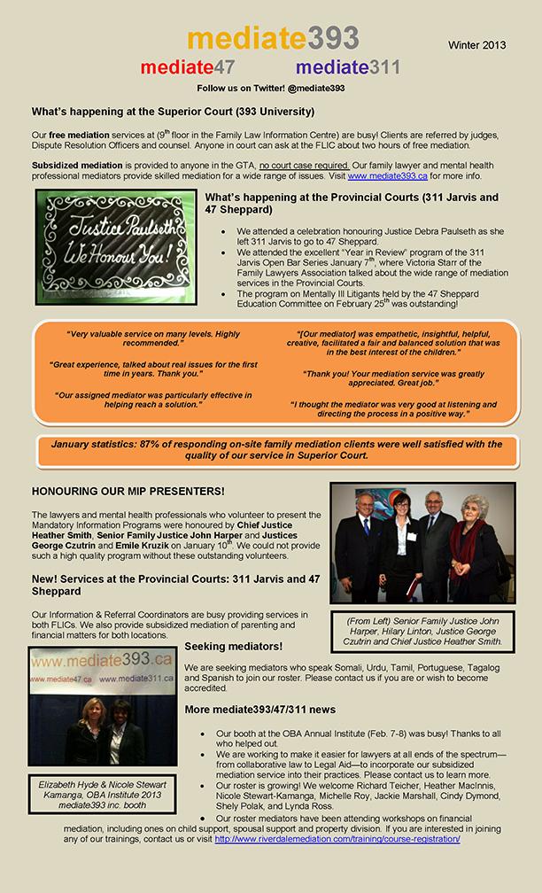 2013 - Winter - mediate393 Newsletter
