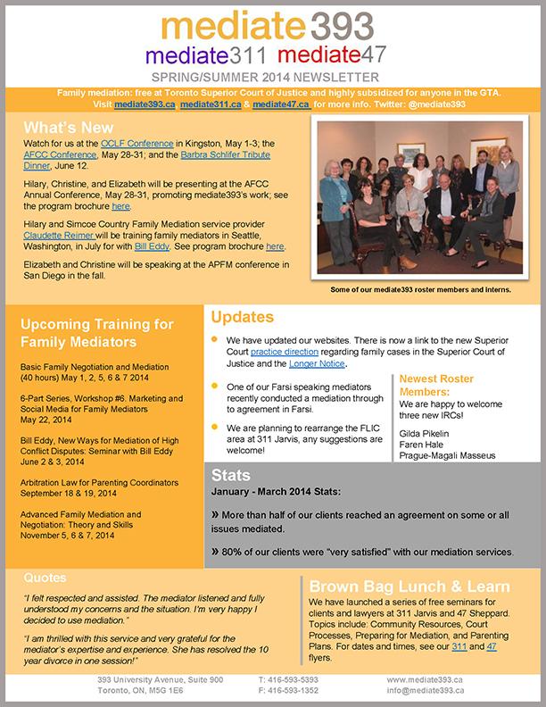 2014 - Summer - mediate393 Newsletter
