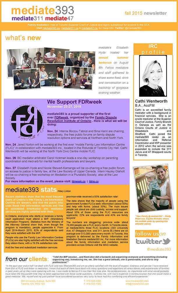 2015 - Fall - Mediate393 Newsletter