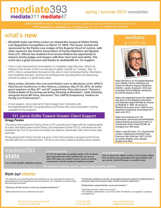 Mediate393 Newsletter - Spring Summer 2015